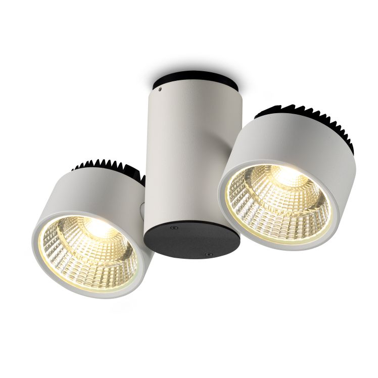 LBL130 24 Watt Twin White Finish Surface Mounted LED Ceiling Spotlight