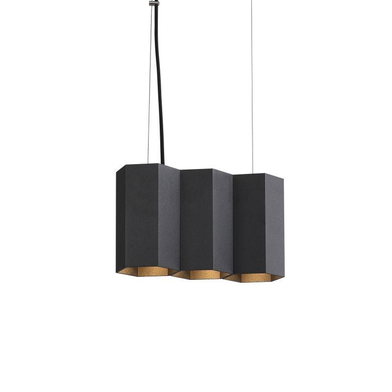 LPL367-BK 15 watt black hexagonal LED pendant light