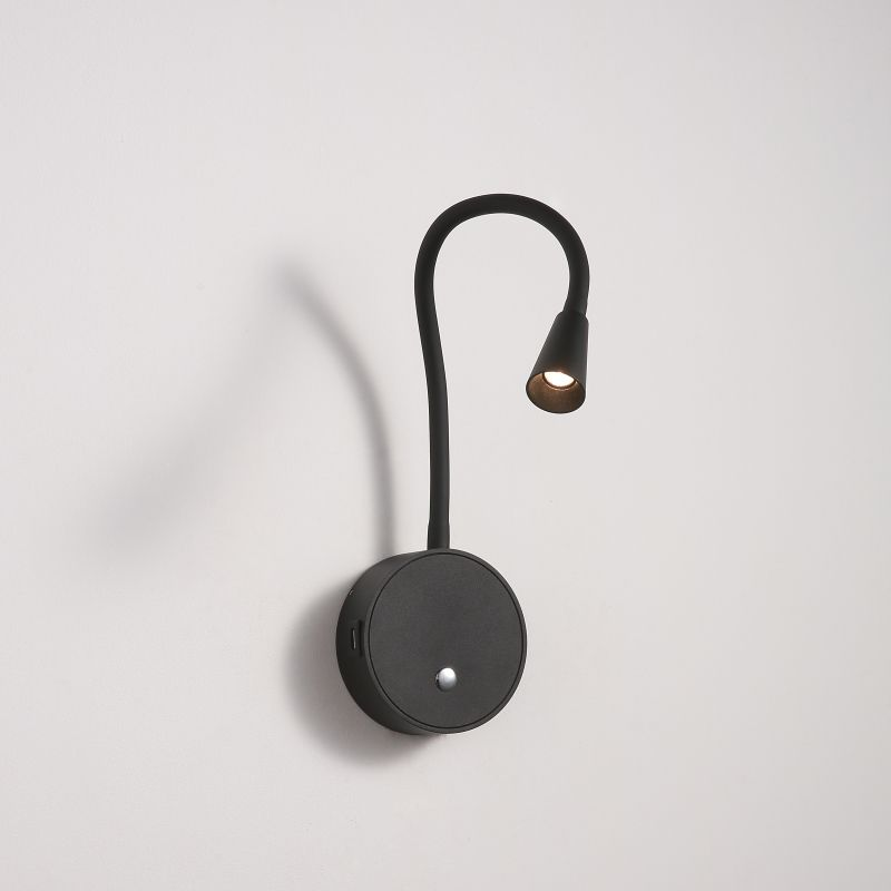LWA423-BK 3 watt black flexible arm LED reading light with USB charger point