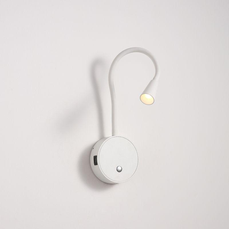 LWA423-WT 3 watt white wall mounted LED reading light with USB ports