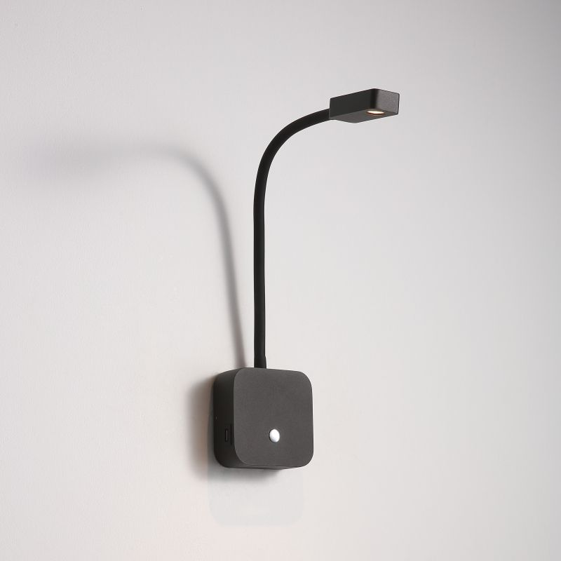 LWA424-BK 3 watt black wall mounted LED reading light with USB ports