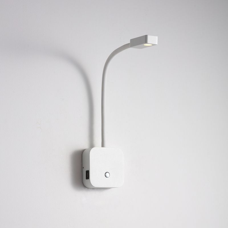 LWA424-WT 3 watt white flexible arm LED reading light with USB charger points