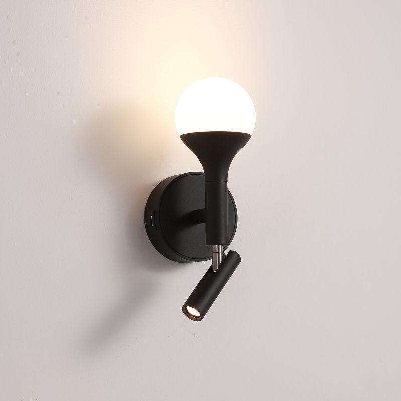 LWA426-BK 7 watt black bedside reading light with USB port