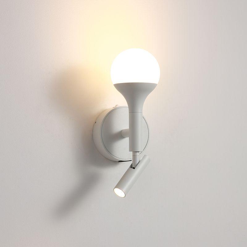 LWA426-WT 7 watt white wall mounted bedside light with USB charging