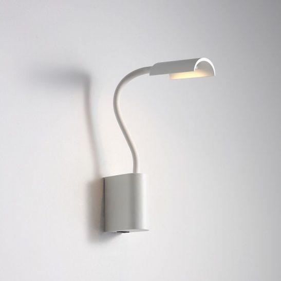 LWA428-WT 3 watt white wall mounted LED reading light with USB port