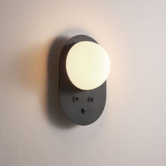 LWA448-BK 4 watt black bedside reading light with USB ports