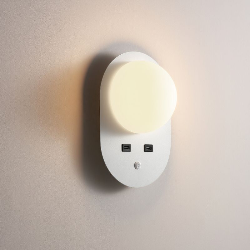 LWA448-WT 4 Watt white wall mounted reading light with USB charge points.